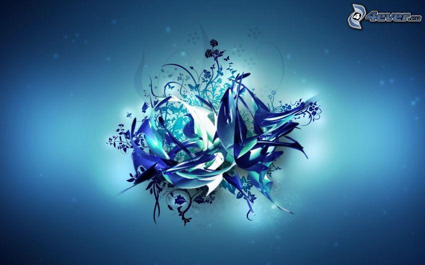 sfondo blu, fiore astratto