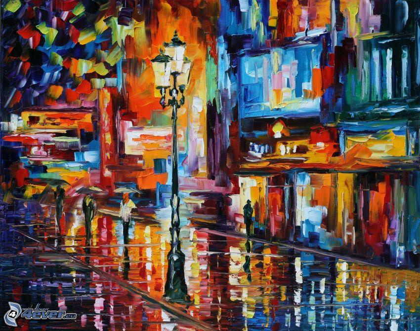 strada, lampione, pittura a olio