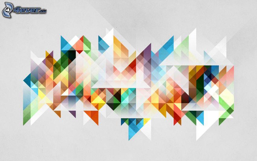 triangoli astratti, sfondo astratto, colori