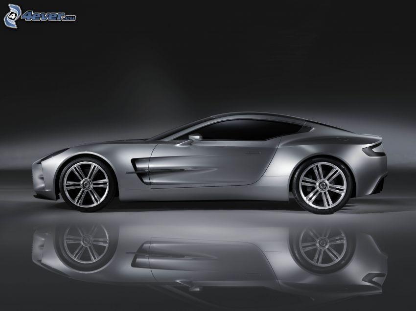 Aston Martin One 77, riflessione, bianco e nero