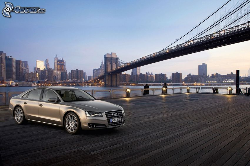 Audi A8, Brooklyn Bridge, Manhattan
