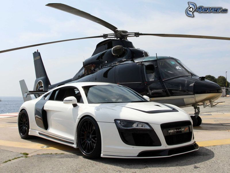 Audi R8, elicottero
