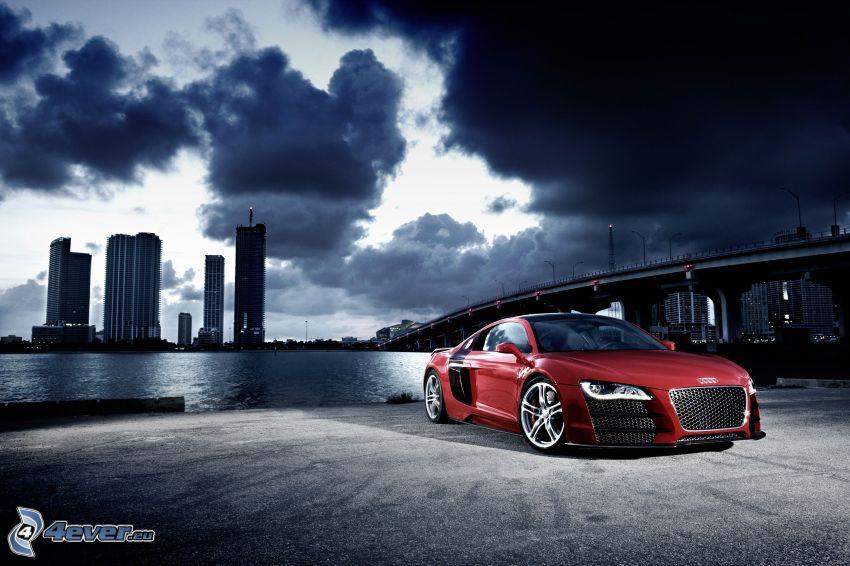 Audi R8, ponte, il fiume, grattacieli, nuvole, sera