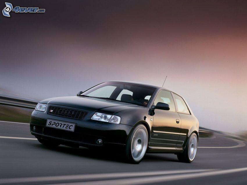 Audi S3, strada, curva, velocità