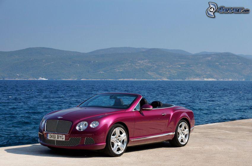 Bentley Continental GT, cabriolet, lago, montagna