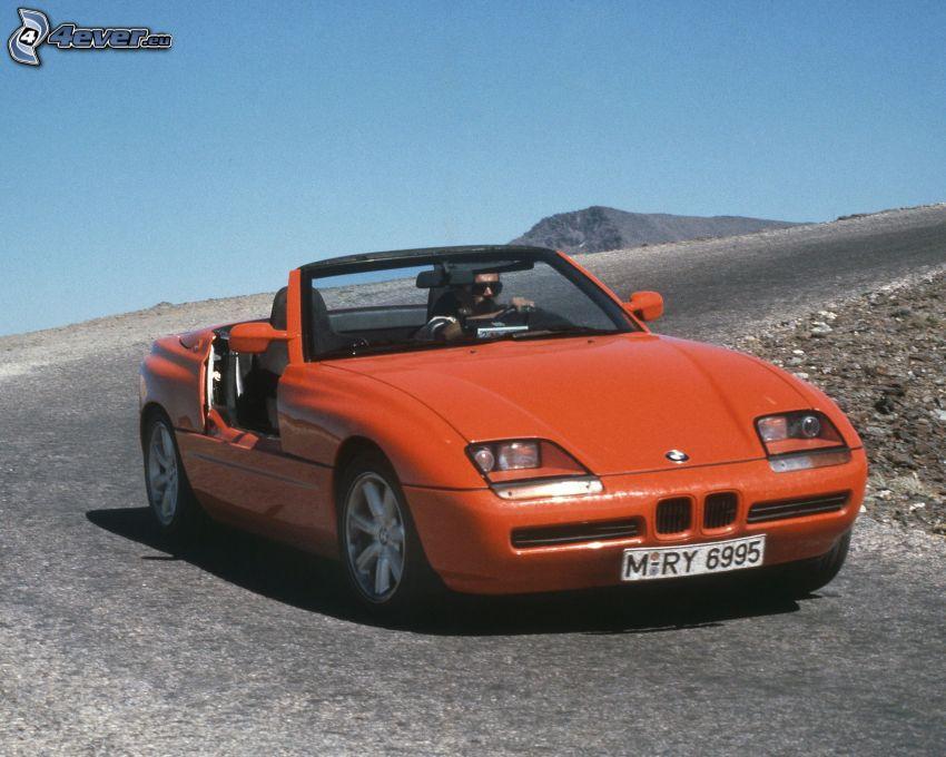BMW, cabriolet, veicolo d'epoca, curva