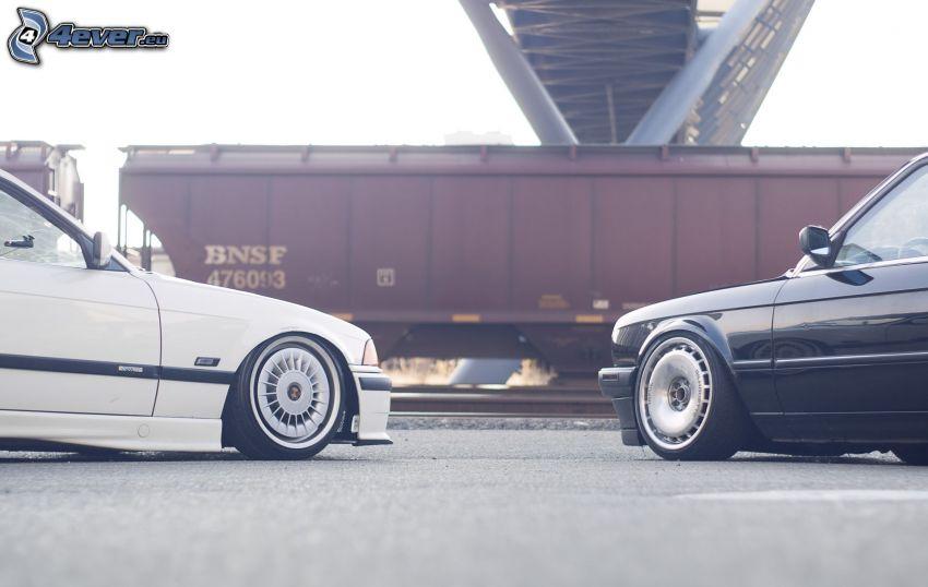 BMW, vagone, sotto il ponte