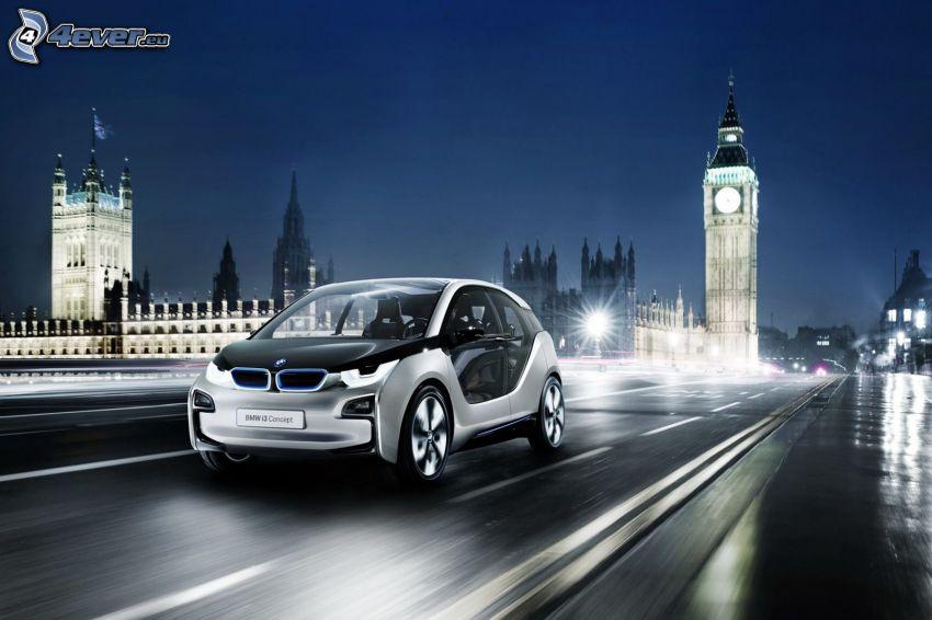BMW i3 Concept, città notturno, strada, Big Ben