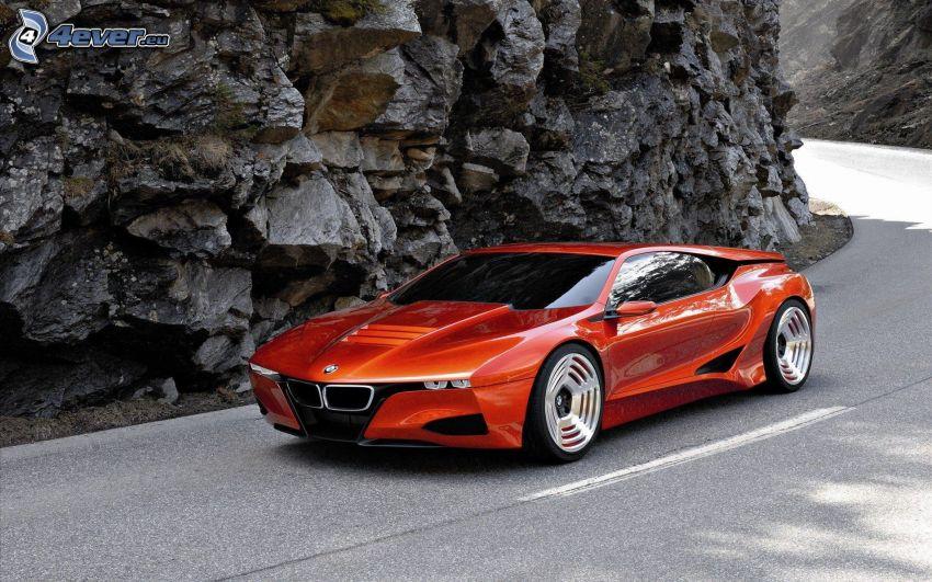BMW M1, strada, curva, rocce