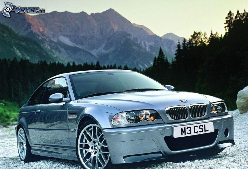 BMW M3, colline rocciose, alberi di conifere