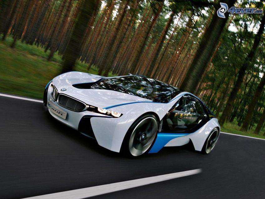 BMW Vision Efficient Dynamics, strada, foresta