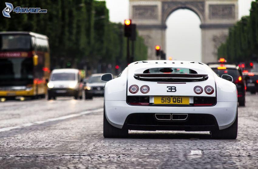 Bugatti Veyron, Arco di Trionfo, Parigi, strada