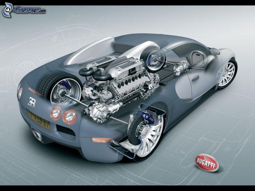 Bugatti Veyron 16.4, costruzione, motore