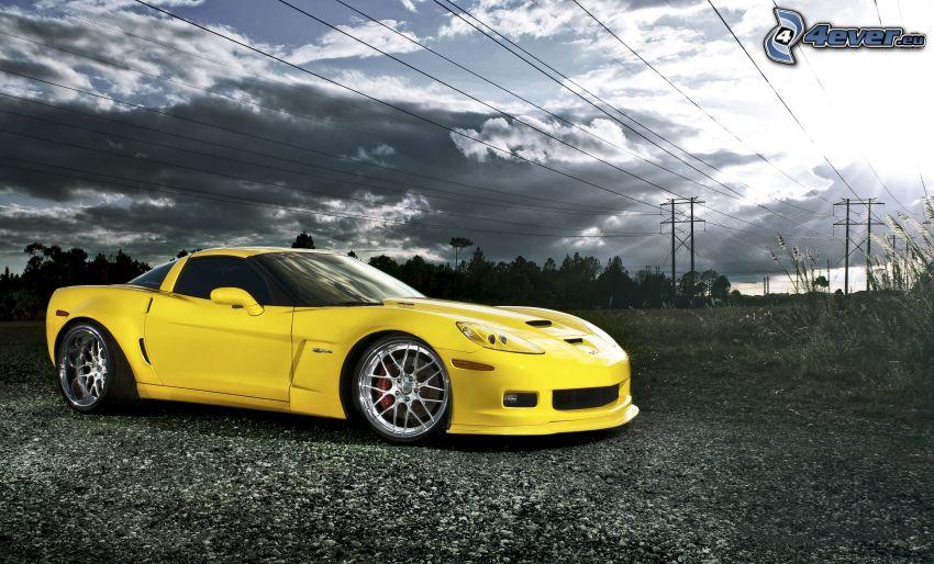 Chevrolet Corvette, nuvole, fili