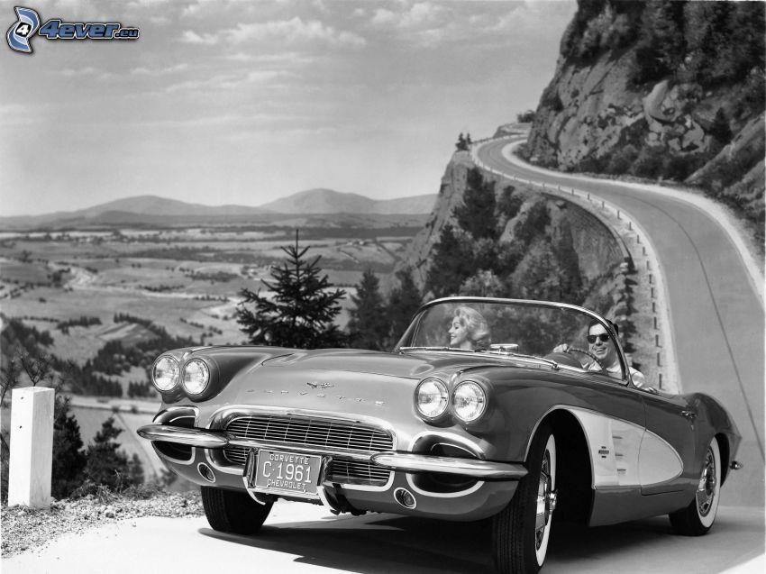 Chevrolet Corvette, veicolo d'epoca, strada, foto in bianco e nero