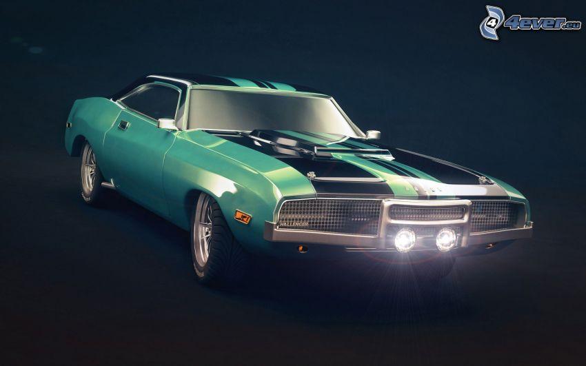 Dodge Challenger, veicolo d'epoca, riflettore
