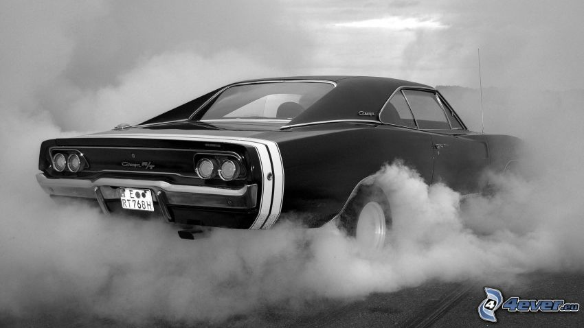 Dodge Charger, burnout, fumo