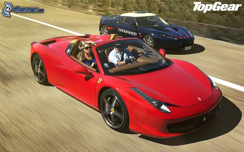 Ferrari F430, cabriolet, velocità, auto della polizia