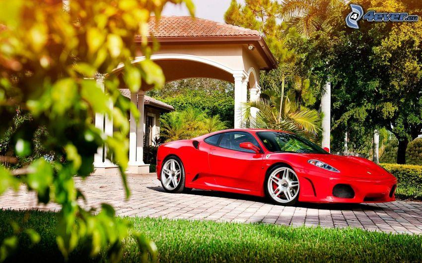 Ferrari F430, piastrelle, alberi
