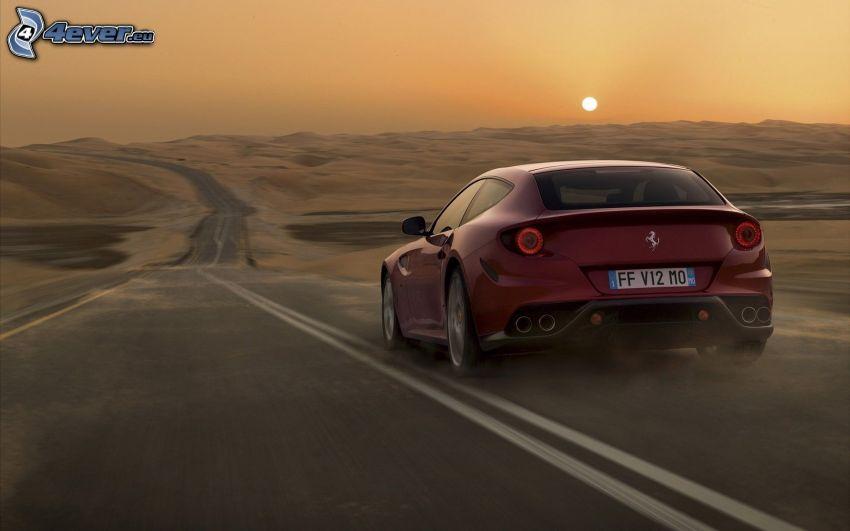 Ferrari FF, strada, tramonto, deserto