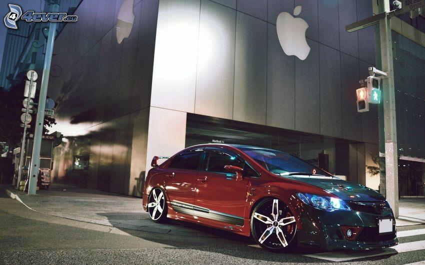 Honda Civic, edificio, sera, attraversamento pedonale