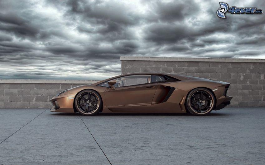 Lamborghini Aventador, nuvole