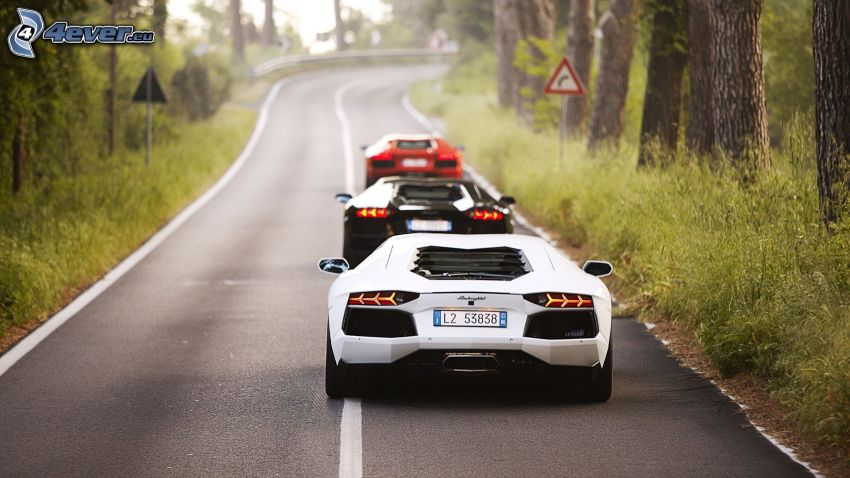 Lamborghini Aventador, strada, curva