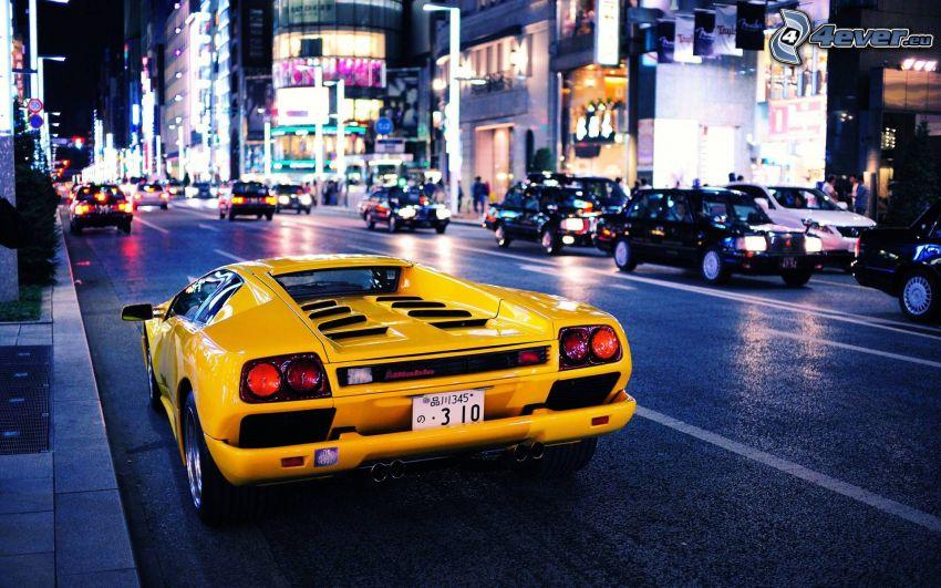 Lamborghini Diablo, strada, città notturno