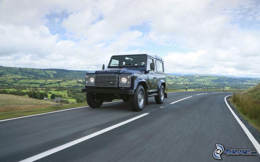 Land Rover Defender, strada, curva
