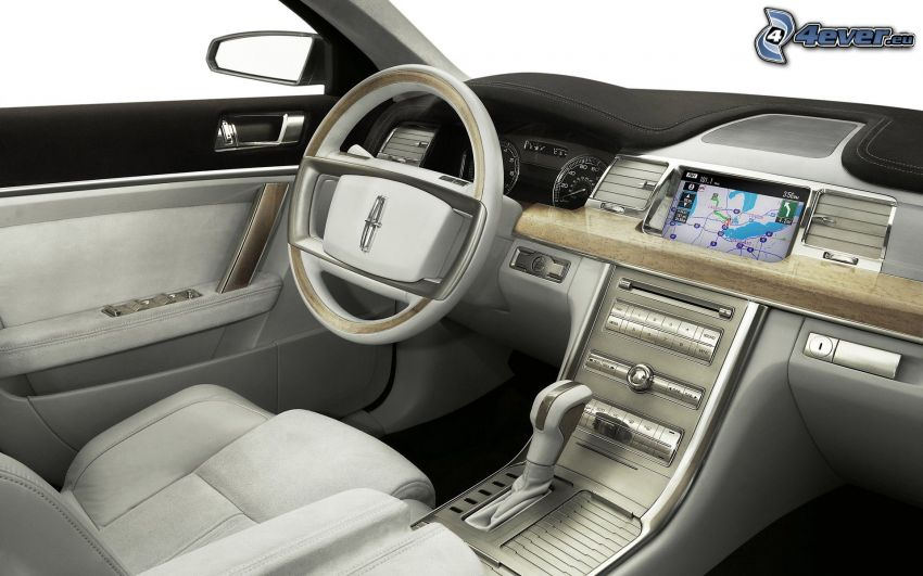 Lincoln MKS, interno, volante, cruscotto