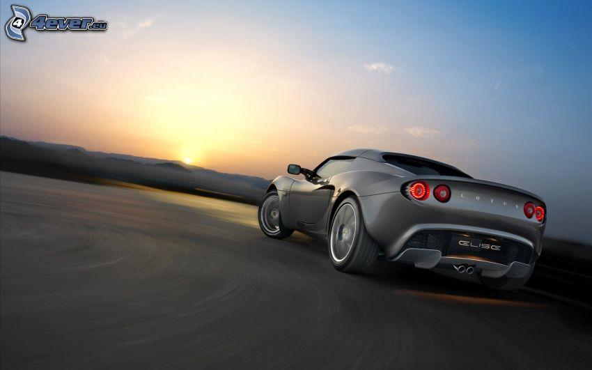 Lotus Elise, strada, curva, tramonto