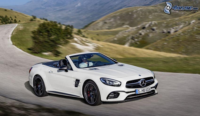 Mercedes-Benz SL63 AMG, cabriolet, colline