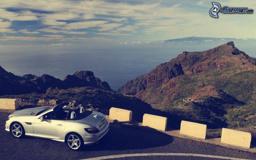 Mercedes-Benz SLK, cabriolet, montagne, vista sul mare