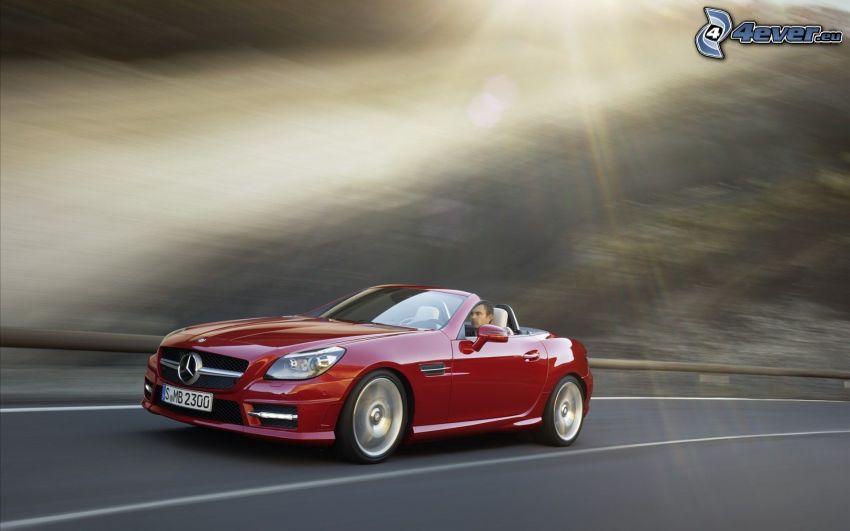 Mercedes-Benz SLK, cabriolet, raggi del sole