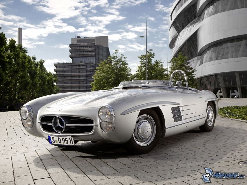 Mercedes-Benz SLS AMG, cabriolet, grattacieli