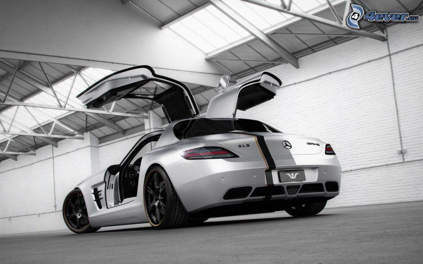 Mercedes-Benz SLS AMG, porta, garage