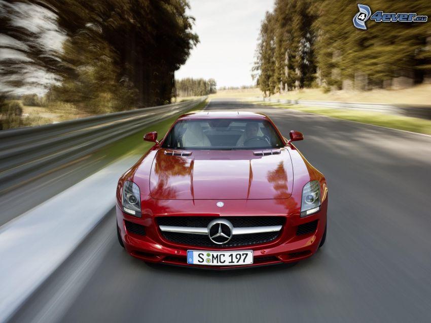 Mercedes-Benz SLS AMG, velocità, il percorso attraverso il bosco