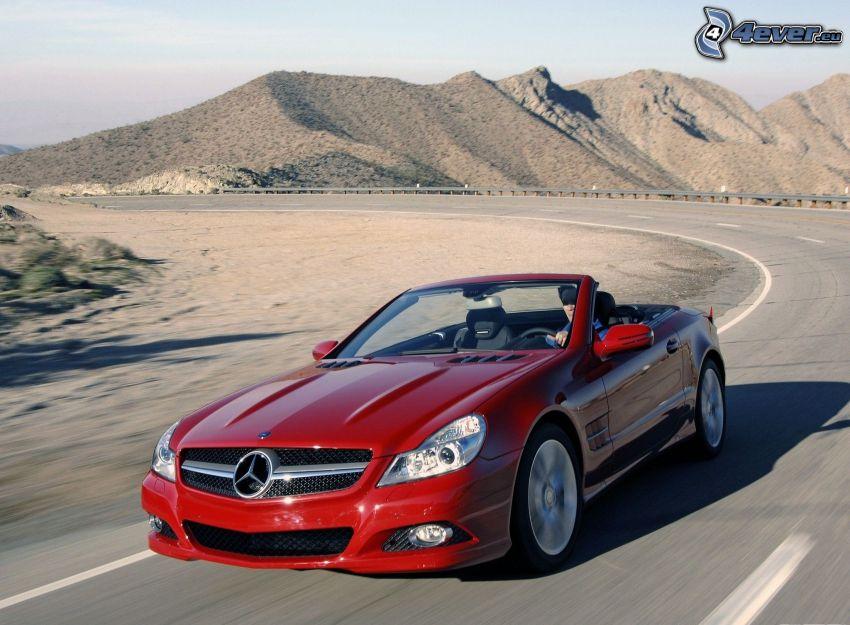 Mercedes SL500, cabriolet, curva, montagna