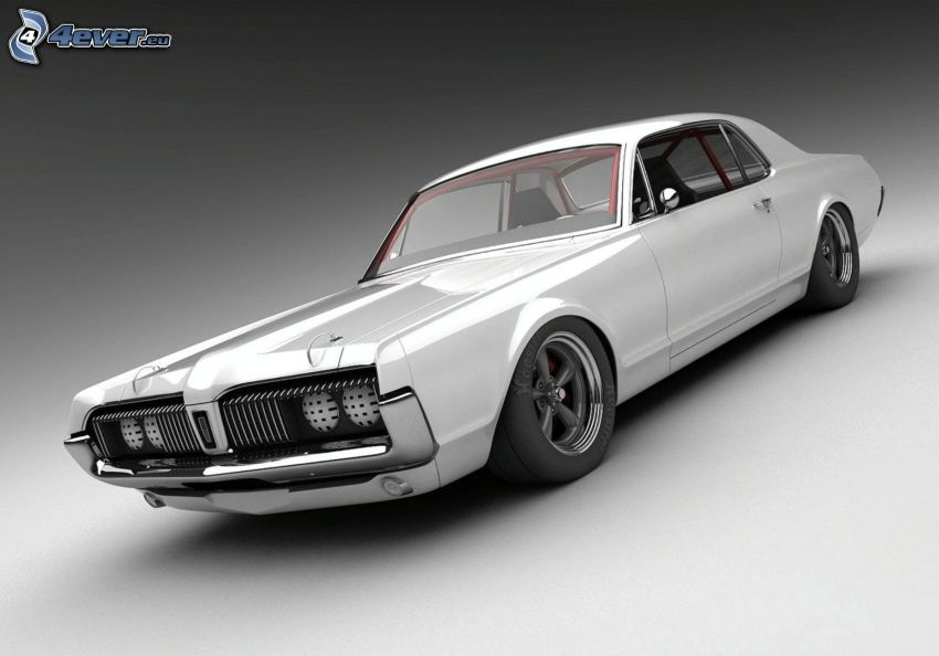 Mercury Cougar, veicolo d'epoca, bianco e nero