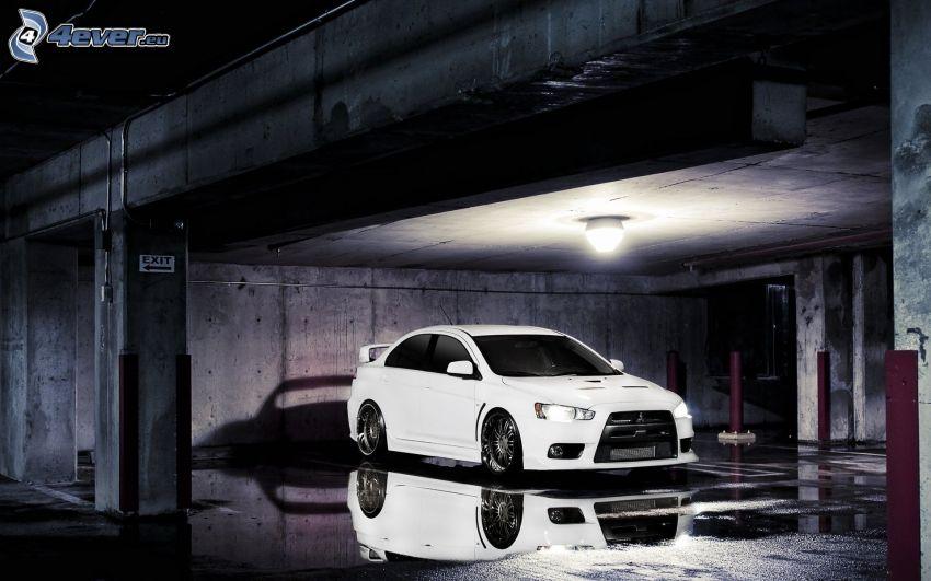 Mitsubishi Lancer Evolution, acqua, riflessione, garage