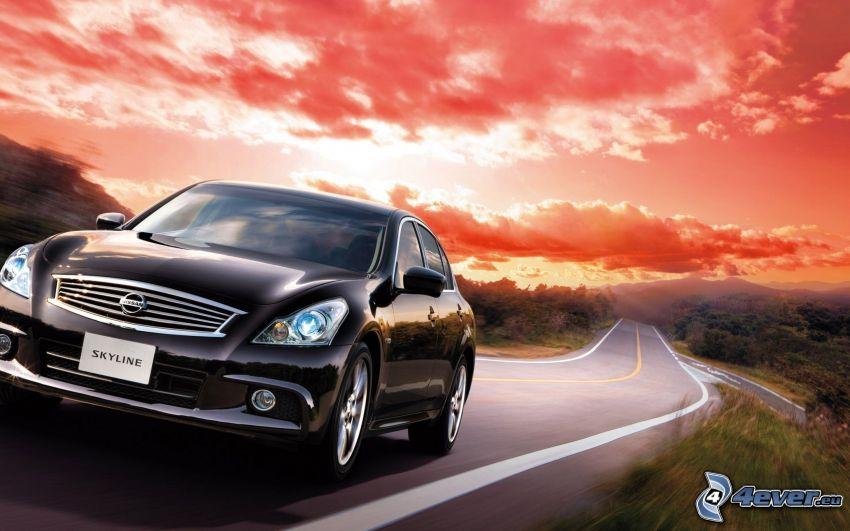 Nissan Skyline, strada, tramonto rosso