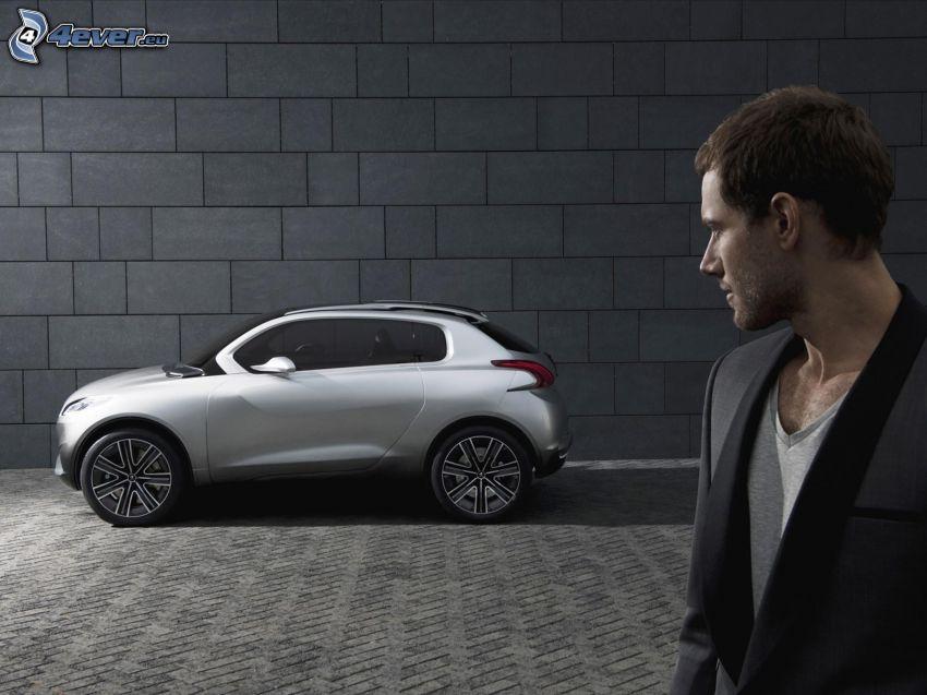 Peugeot, concetto, uomo, muro, piastrelle