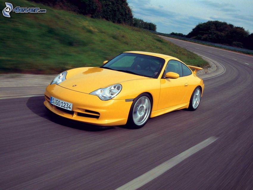 Porsche, strada, curva
