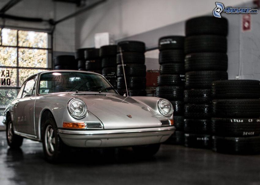 Porsche, veicolo d'epoca, garage, Pneumatici