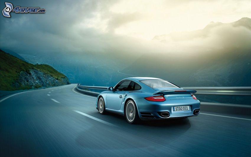 Porsche 911, strada, curva