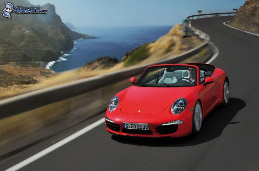 Porsche 911 Carrera S, cabriolet, velocità, strada, mare