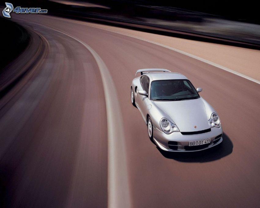 Porsche 911 GT2, strada, curva, velocità