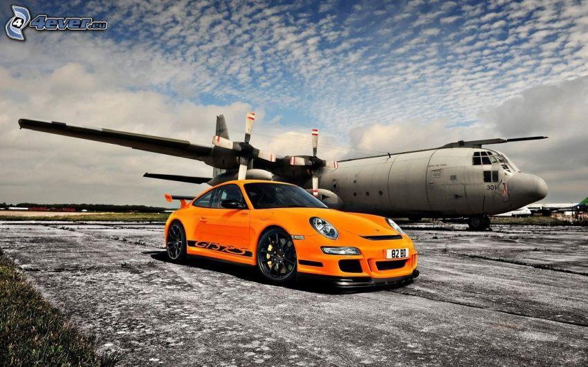 Porsche 911 GT3 RS, auto sportive, aereo, nuvole