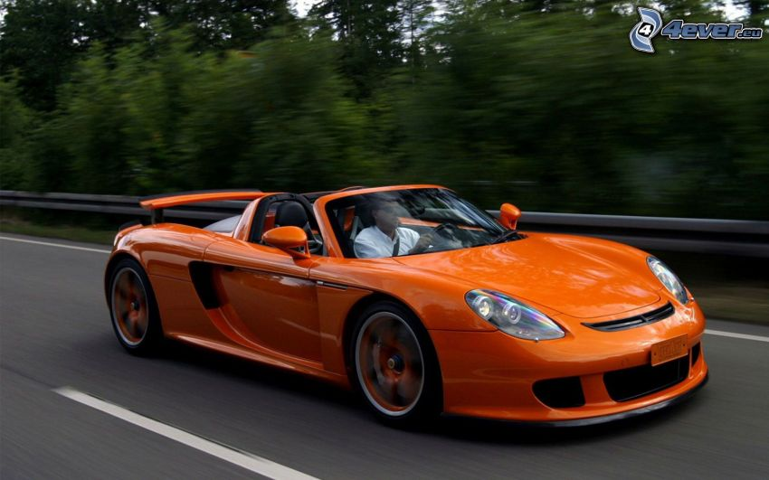 Porsche Carrera GT, cabriolet, strada, velocità