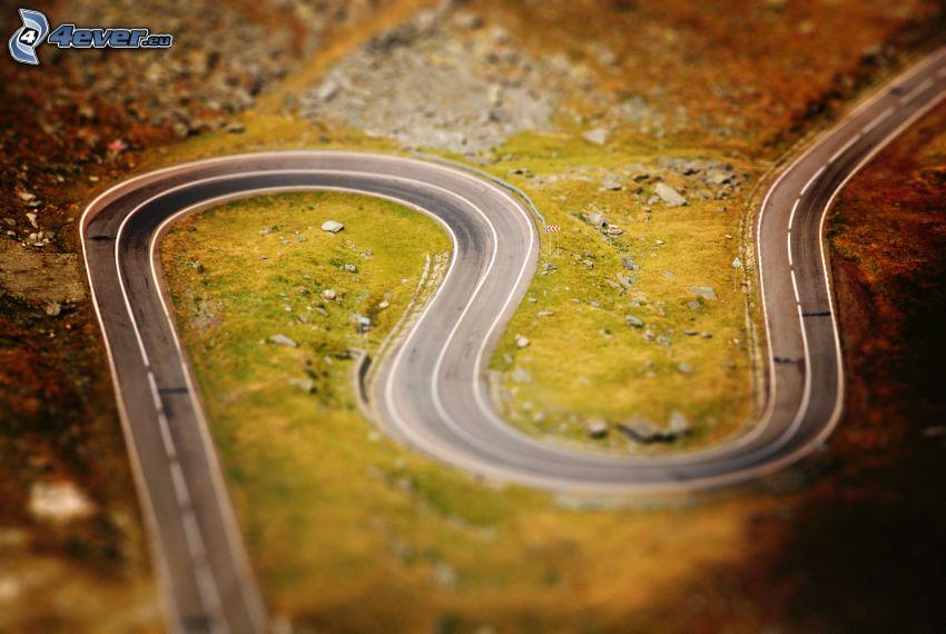 strade zigzag, strada, curva, diorama